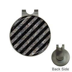 Stripes3 Black Marble & Gray Stone Hat Clips With Golf Markers by trendistuff
