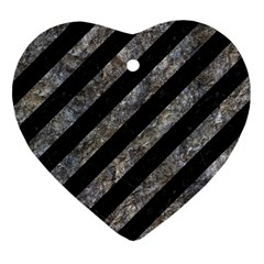 Stripes3 Black Marble & Gray Stone Heart Ornament (two Sides) by trendistuff