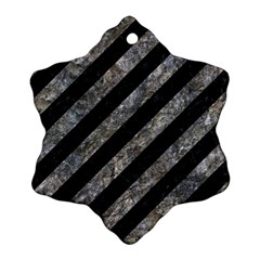 Stripes3 Black Marble & Gray Stone Snowflake Ornament (two Sides)
