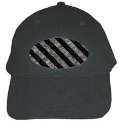 Stripes3 Black Marble & Gray Stone (r) Black Cap by trendistuff
