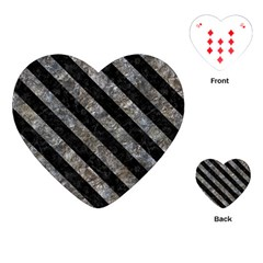 Stripes3 Black Marble & Gray Stone (r) Playing Cards (heart)  by trendistuff