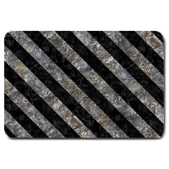 Stripes3 Black Marble & Gray Stone (r) Large Doormat