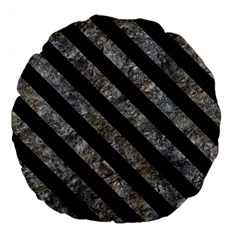 Stripes3 Black Marble & Gray Stone (r) Large 18  Premium Flano Round Cushions by trendistuff
