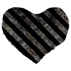 Stripes3 Black Marble & Gray Stone (r) Large 19  Premium Flano Heart Shape Cushions by trendistuff