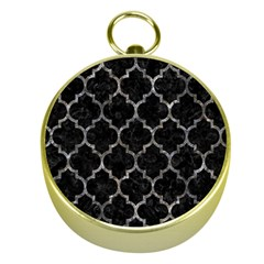 Tile1 Black Marble & Gray Stone Gold Compasses by trendistuff