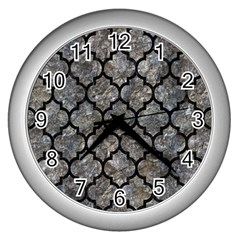 Tile1 Black Marble & Gray Stone (r) Wall Clocks (silver)  by trendistuff