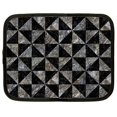 Triangle1 Black Marble & Gray Stone Netbook Case (large) by trendistuff