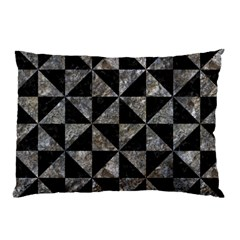 Triangle1 Black Marble & Gray Stone Pillow Case (two Sides) by trendistuff