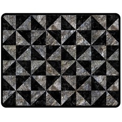 Triangle1 Black Marble & Gray Stone Double Sided Fleece Blanket (medium)  by trendistuff