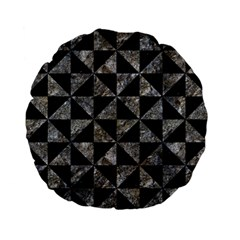 Triangle1 Black Marble & Gray Stone Standard 15  Premium Flano Round Cushions by trendistuff