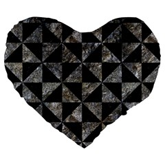Triangle1 Black Marble & Gray Stone Large 19  Premium Flano Heart Shape Cushions by trendistuff