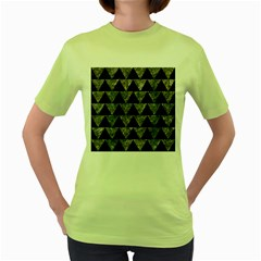 Triangle2 Black Marble & Gray Stone Women s Green T Shirt by trendistuff