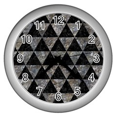 Triangle3 Black Marble & Gray Stone Wall Clocks (silver)  by trendistuff