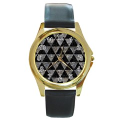 Triangle3 Black Marble & Gray Stone Round Gold Metal Watch by trendistuff