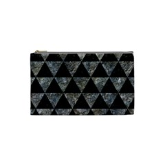 Triangle3 Black Marble & Gray Stone Cosmetic Bag (small)  by trendistuff