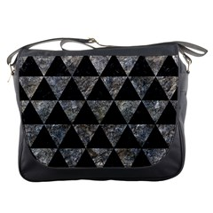 Triangle3 Black Marble & Gray Stone Messenger Bags by trendistuff
