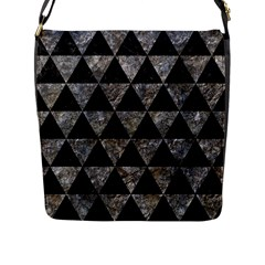 Triangle3 Black Marble & Gray Stone Flap Messenger Bag (l)  by trendistuff