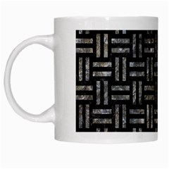 Woven1 Black Marble & Gray Stone White Mugs by trendistuff