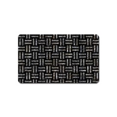 Woven1 Black Marble & Gray Stone Magnet (name Card) by trendistuff