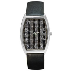 Woven1 Black Marble & Gray Stone (r) Barrel Style Metal Watch by trendistuff