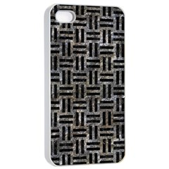Woven1 Black Marble & Gray Stone (r) Apple Iphone 4/4s Seamless Case (white) by trendistuff
