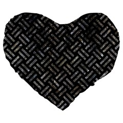 Woven2 Black Marble & Gray Stone Large 19  Premium Flano Heart Shape Cushions by trendistuff