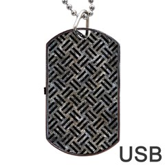 Woven2 Black Marble & Gray Stone (r) Dog Tag Usb Flash (one Side) by trendistuff