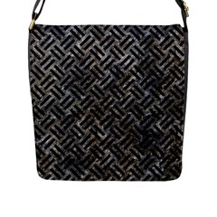 Woven2 Black Marble & Gray Stone (r) Flap Messenger Bag (l)  by trendistuff
