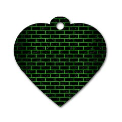 Brick1 Black Marble & Green Brushed Metal Dog Tag Heart (one Side) by trendistuff