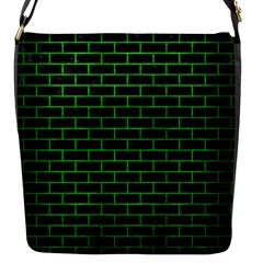 Brick1 Black Marble & Green Brushed Metal Flap Messenger Bag (s) by trendistuff