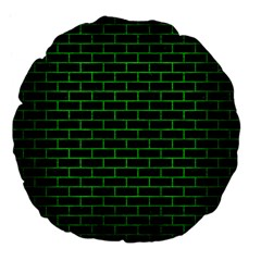Brick1 Black Marble & Green Brushed Metal Large 18  Premium Flano Round Cushions by trendistuff
