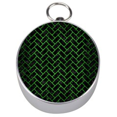 Brick2 Black Marble & Green Brushed Metal Silver Compasses by trendistuff