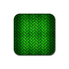 Brick2 Black Marble & Green Brushed Metal (r) Rubber Coaster (square)  by trendistuff