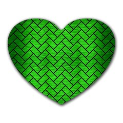 Brick2 Black Marble & Green Brushed Metal (r) Heart Mousepads