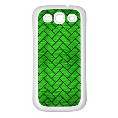 Brick2 Black Marble & Green Brushed Metal (r) Samsung Galaxy S3 Back Case (white) by trendistuff