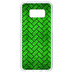 Brick2 Black Marble & Green Brushed Metal (r) Samsung Galaxy S8 White Seamless Case by trendistuff