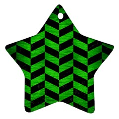 Chevron1 Black Marble & Green Brushed Metal Star Ornament (two Sides) by trendistuff
