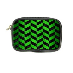 Chevron1 Black Marble & Green Brushed Metal Coin Purse