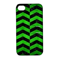 Chevron2 Black Marble & Green Brushed Metal Apple Iphone 4/4s Hardshell Case With Stand by trendistuff