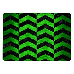 Chevron2 Black Marble & Green Brushed Metal Samsung Galaxy Tab 10 1  P7500 Flip Case by trendistuff