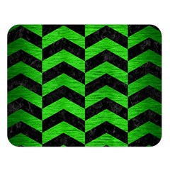 Chevron2 Black Marble & Green Brushed Metal Double Sided Flano Blanket (large)  by trendistuff