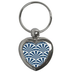 Teal,white,art Deco,pattern Key Chains (heart)  by Love888