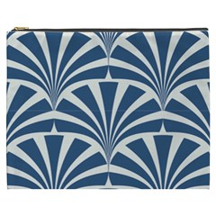 Teal,white,art Deco,pattern Cosmetic Bag (xxxl)  by 8fugoso
