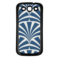 Teal,white,art Deco,pattern Samsung Galaxy S3 Back Case (black)