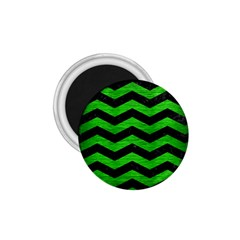 Chevron3 Black Marble & Green Brushed Metal 1 75  Magnets by trendistuff
