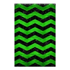 Chevron3 Black Marble & Green Brushed Metal Shower Curtain 48  X 72  (small)  by trendistuff