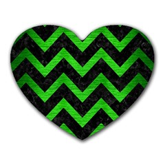 Chevron9 Black Marble & Green Brushed Metal Heart Mousepads by trendistuff