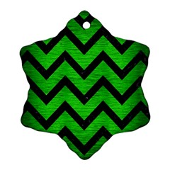 Chevron9 Black Marble & Green Brushed Metal (r) Snowflake Ornament (two Sides)