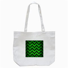 Chevron9 Black Marble & Green Brushed Metal (r) Tote Bag (white) by trendistuff