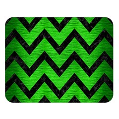 Chevron9 Black Marble & Green Brushed Metal (r) Double Sided Flano Blanket (large)  by trendistuff